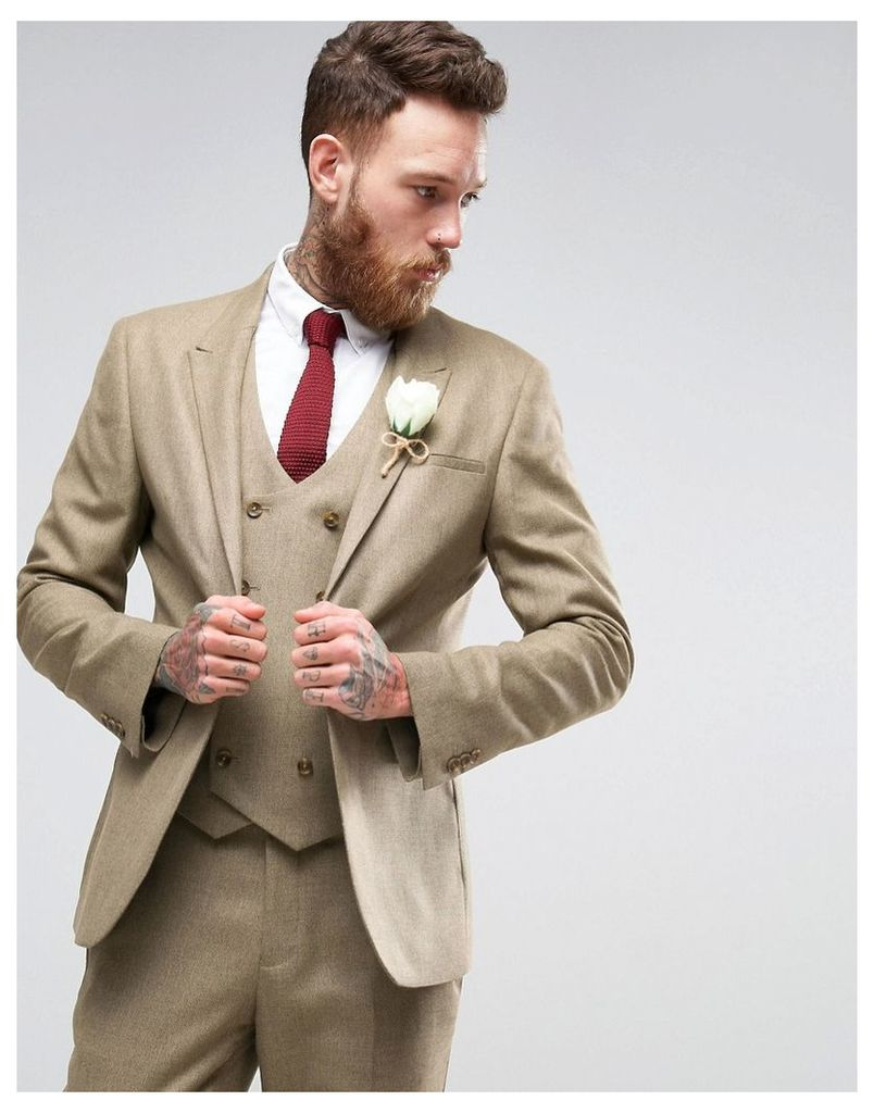 ASOS WEDDING Skinny Suit Jacket in Taupe Twist Micro Texture - Oatmeal