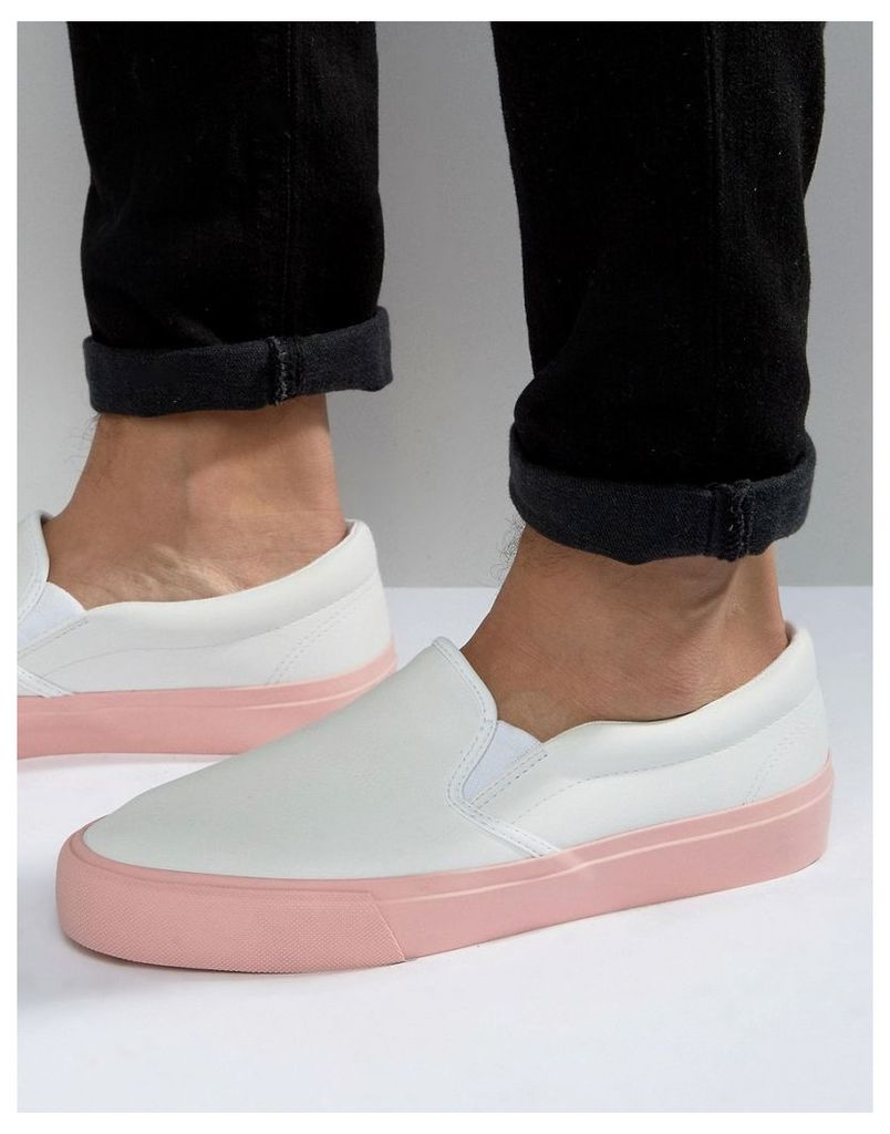 ASOS Slip On Plimsolls in White With Pink Sole - White