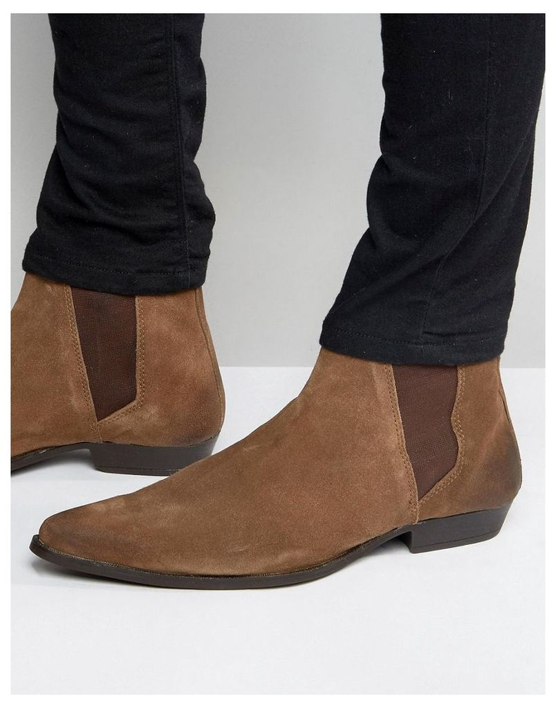 ASOS Pointed Chelsea Boots in Brown Suede - Brown