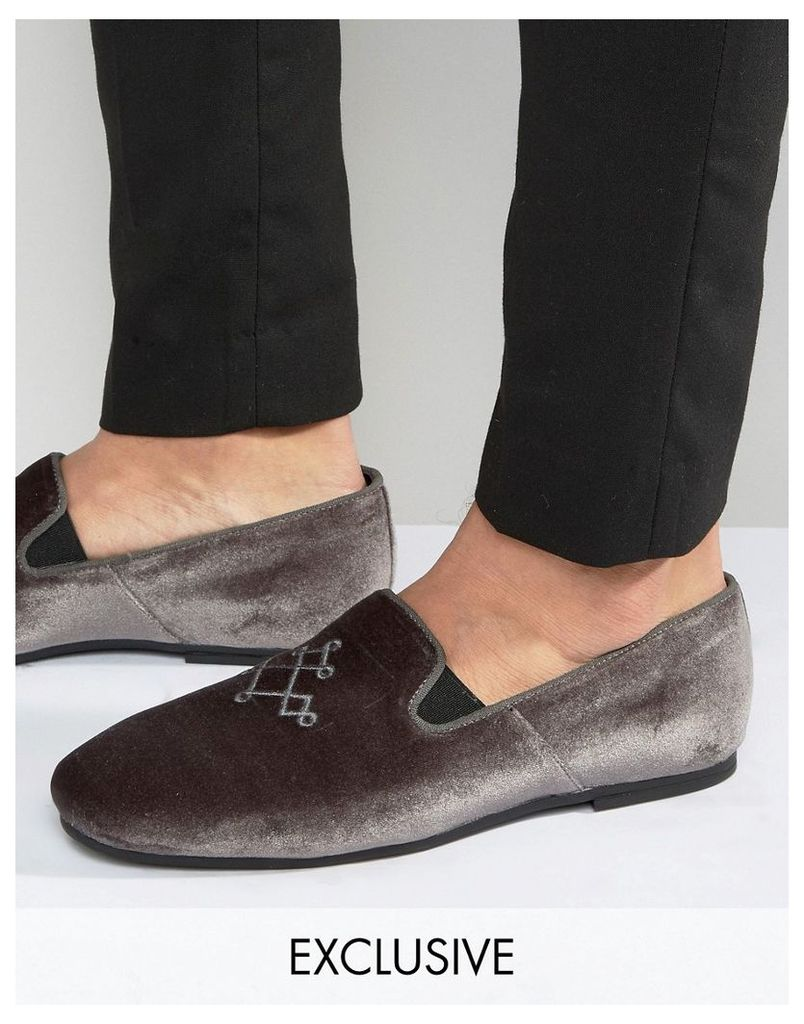 Hudson London Exclusive to ASOS Velvet Loafers - Grey