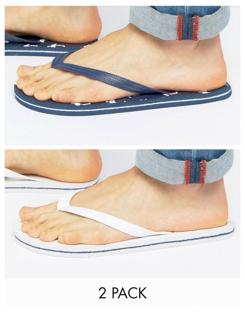 ASOS Flip Flops 2 Pack In Navy And White SAVE - Multi