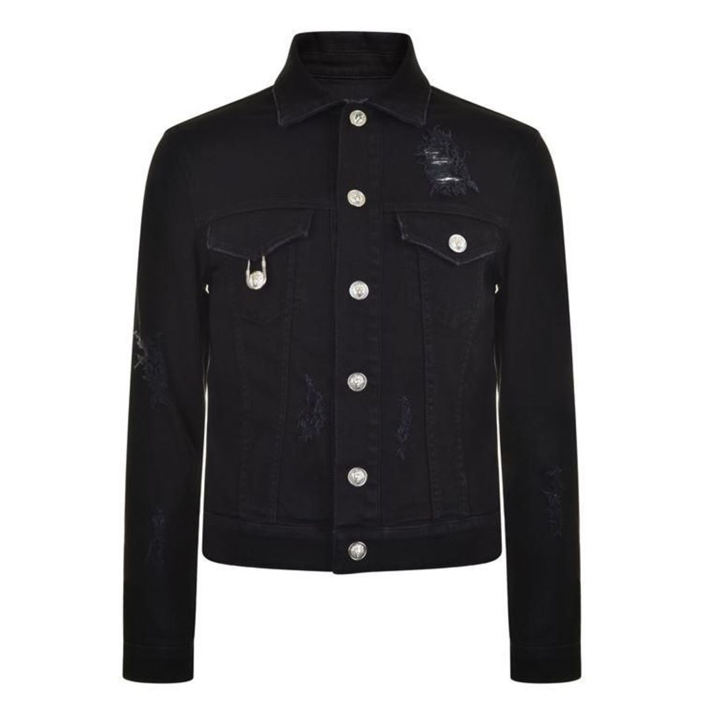 VERSUS VERSACE Safety Pin Denim Jacket