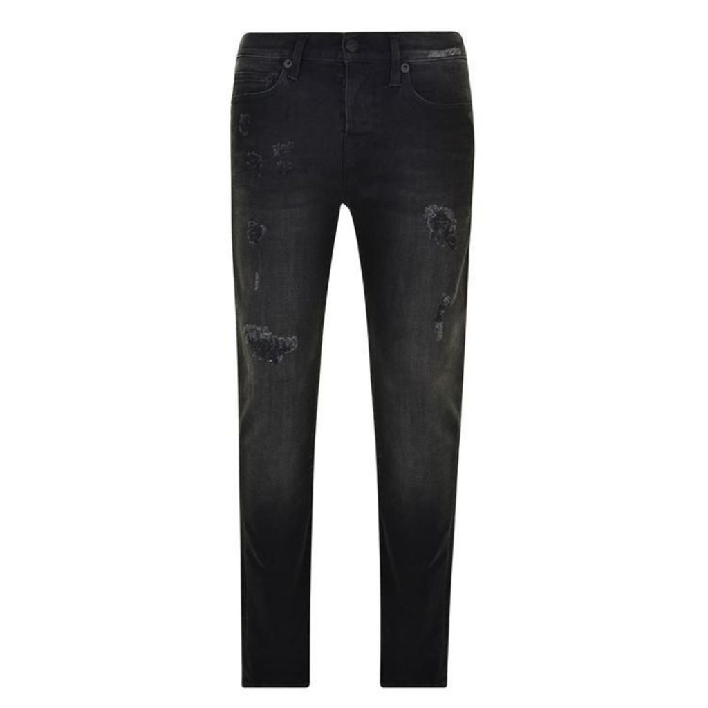 TRUE RELIGION Rocco Relaxed Skinny Destroyed Jeans