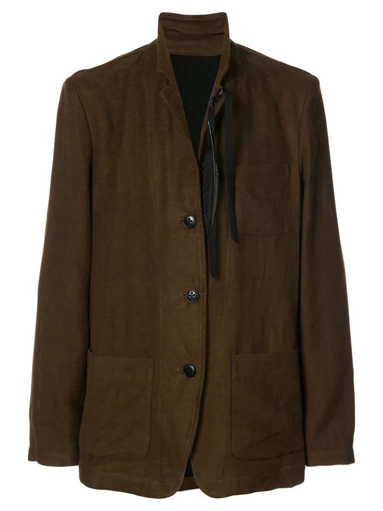 Ann Demeulemeester - classic fitted blazer - men - Cotton/Linen/Flax/Rayon/Wool - L, Brown