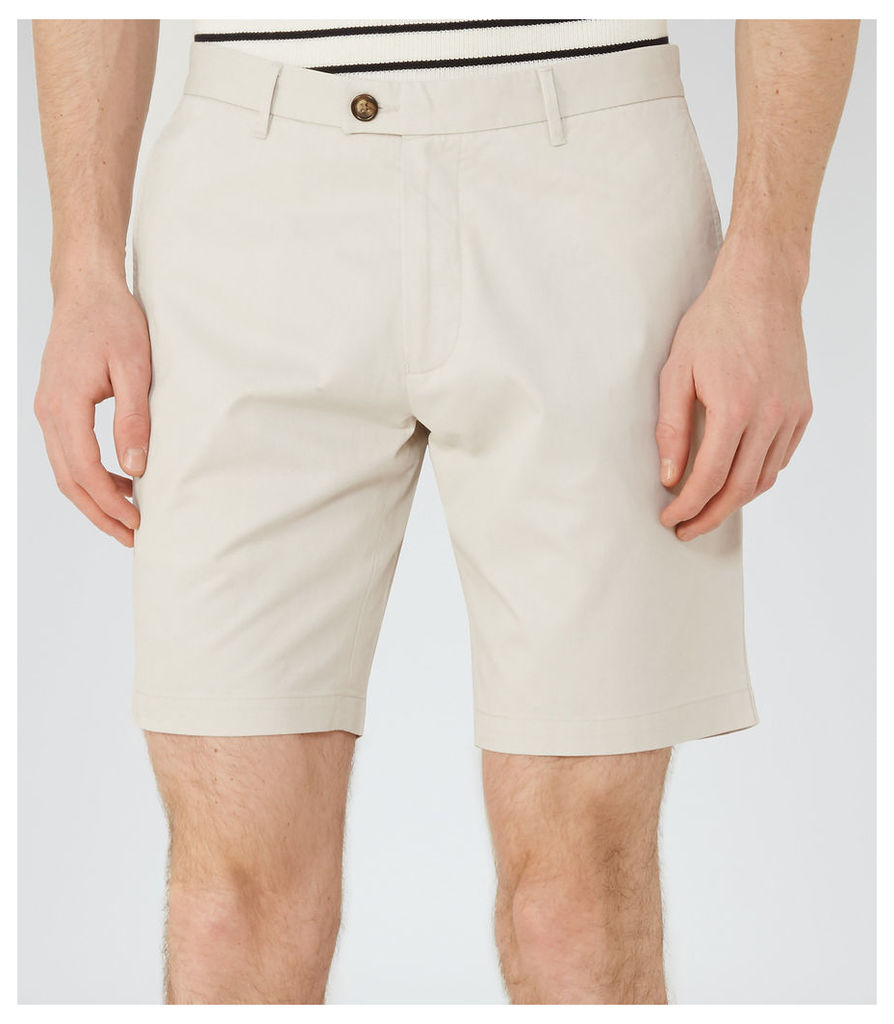 Reiss Wicker  - Tailored Cotton Shorts in Stone, Mens, Size 36