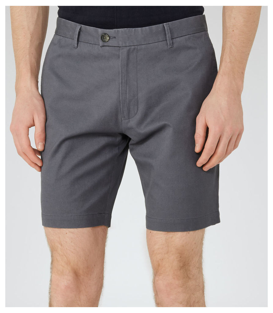 Reiss Wicker  - Tailored Cotton Shorts in Airforce Blue, Mens, Size 30