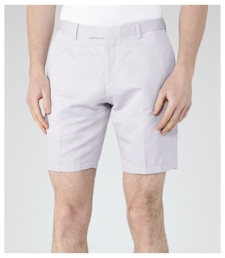 Reiss Southbury - Cotton And Linen Shorts in Light Grey, Mens, Size 32