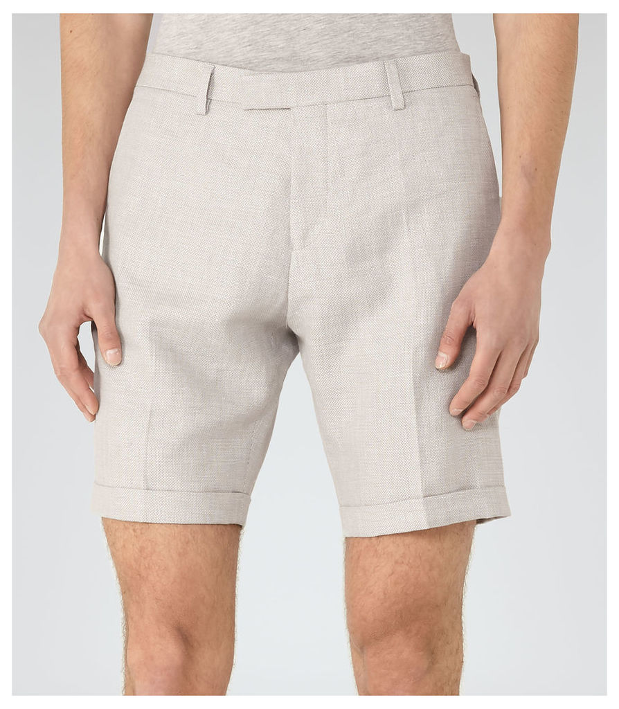 Reiss Ashford - Tailored Linen Mix Shorts in Stone, Mens, Size 34