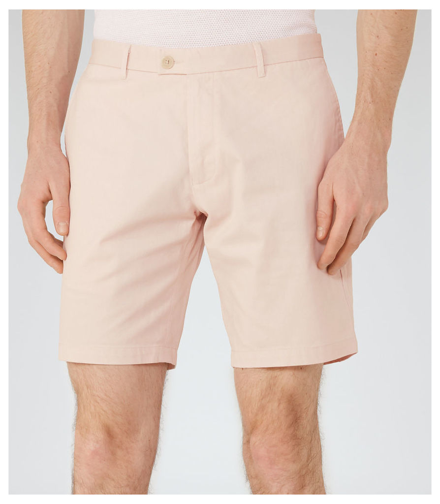 Reiss Wicker  - Tailored Cotton Shorts in Soft Pink, Mens, Size 30
