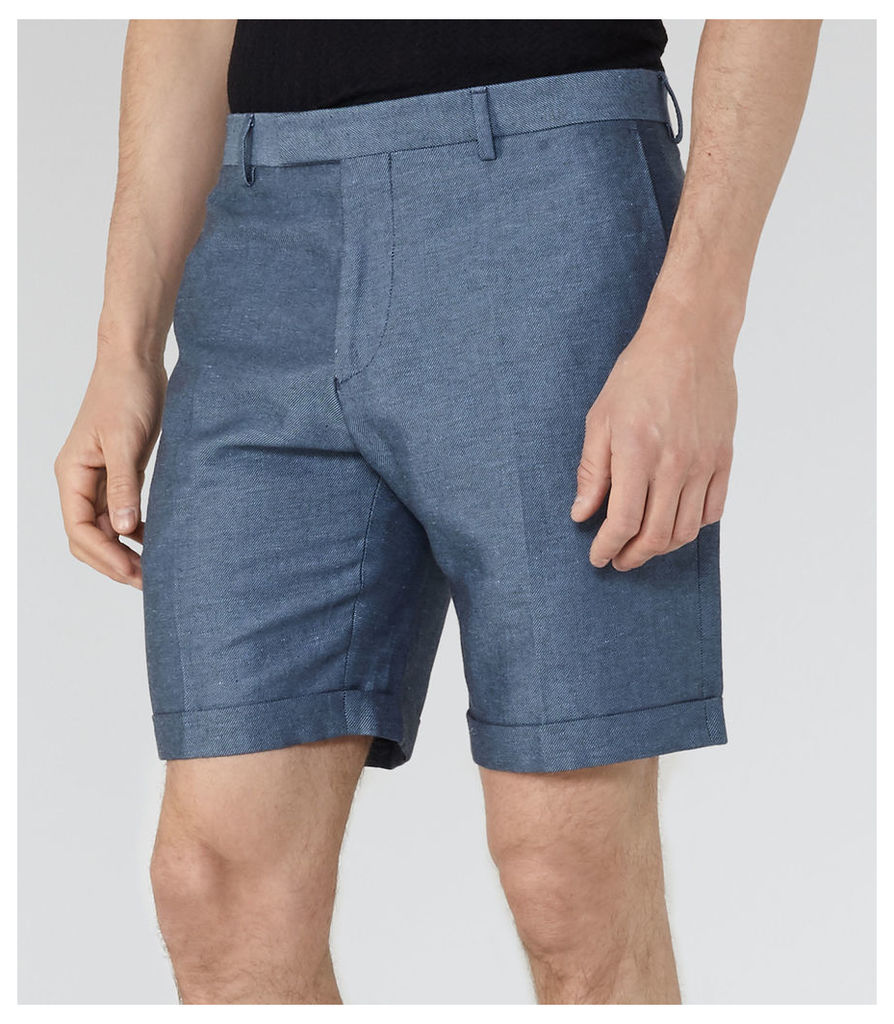 Reiss Meadow - Linen And Cotton Shorts in Navy, Mens, Size 30