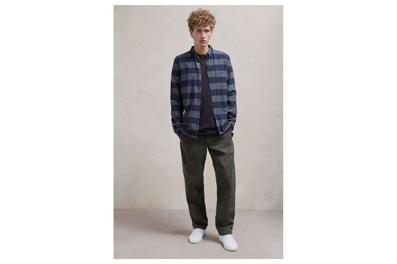 Classic Flannel Stripe Shirt - stripe charcoal/marine
