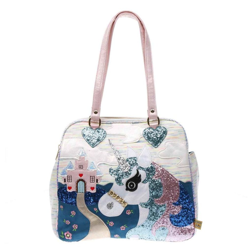 irregular choice white & blue king of the castle bags