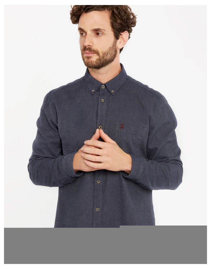 Navy Barbrook Classic Fit Flannel Shirt  Size XL | Joules UK