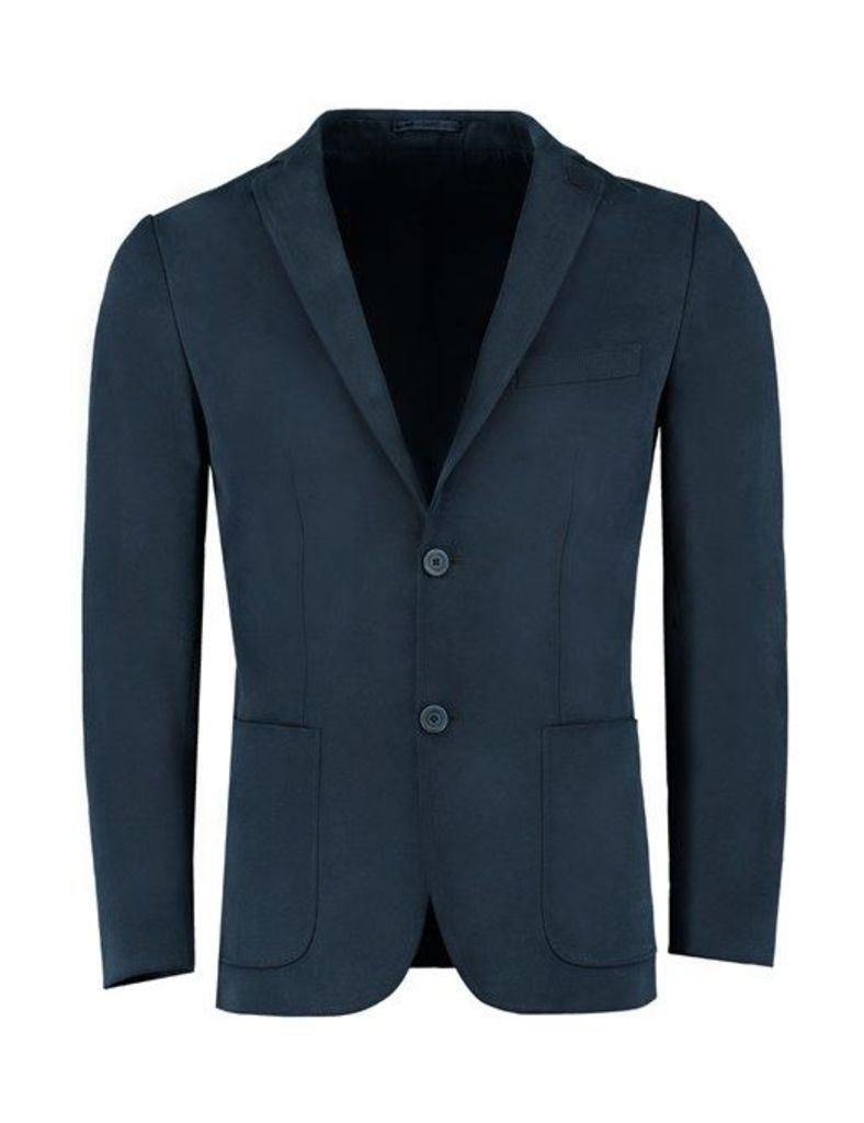 Men's Navy Blazer With Suede Patches