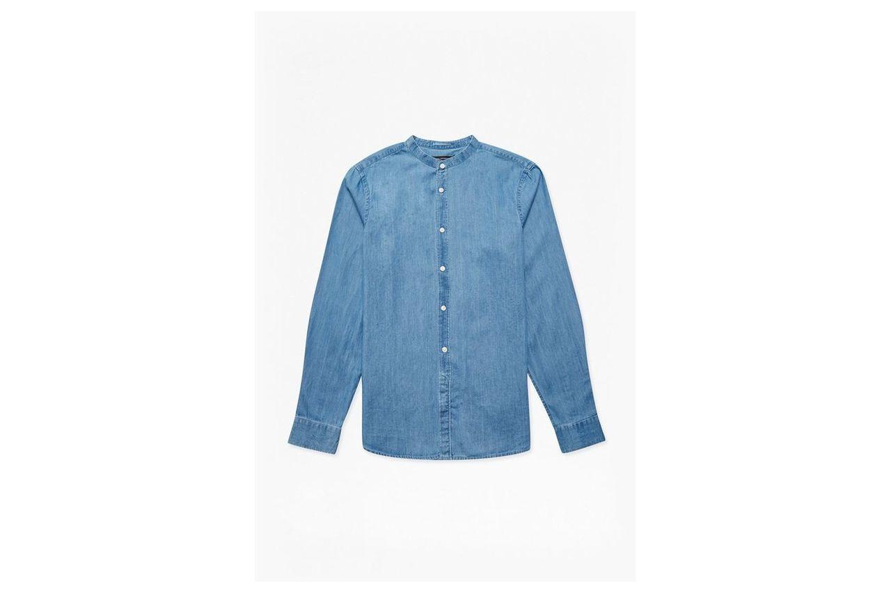 Grandad Collared Denim Shirt - bleach wash