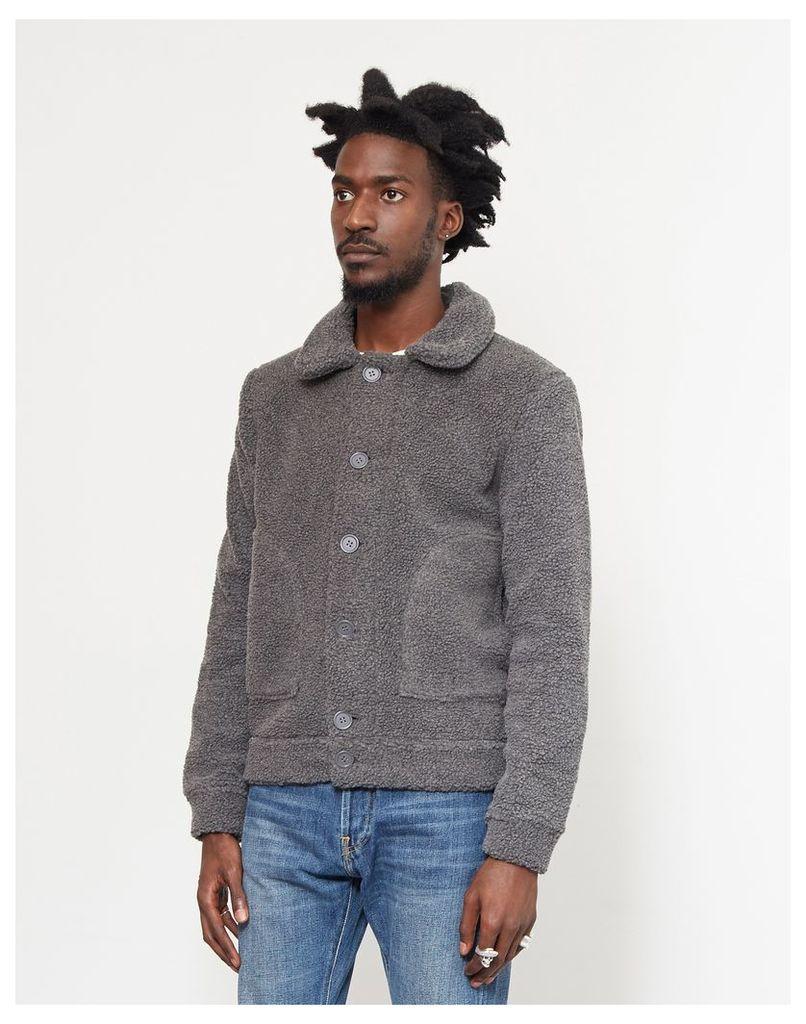 The Idle Man Button Through Sherpa Jacket Grey