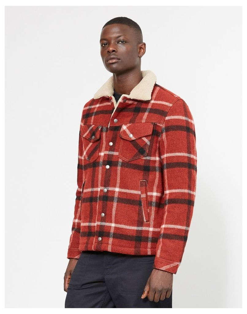 Nudie Jeans Co Lenny Wool Check Jacket Red