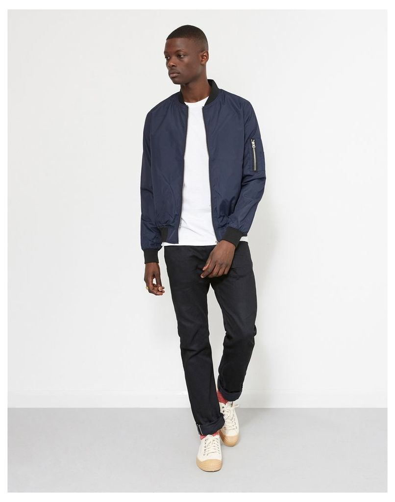 The Idle Man Lightweight Poly Bomber Jacket Navy