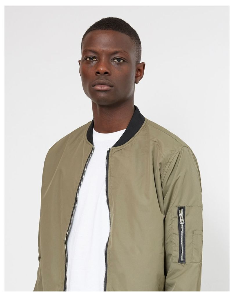 The Idle Man Lightweight Poly Bomber Jacket Green