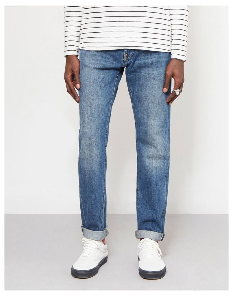 Edwin ED-80 Slim Tapered Nihon Menpu Japan Selvage Stretch Fabric Jeans Raw Blue