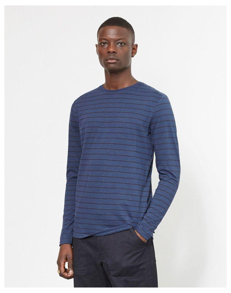 The Idle Man Long Sleeve Striped T-Shirt Blue