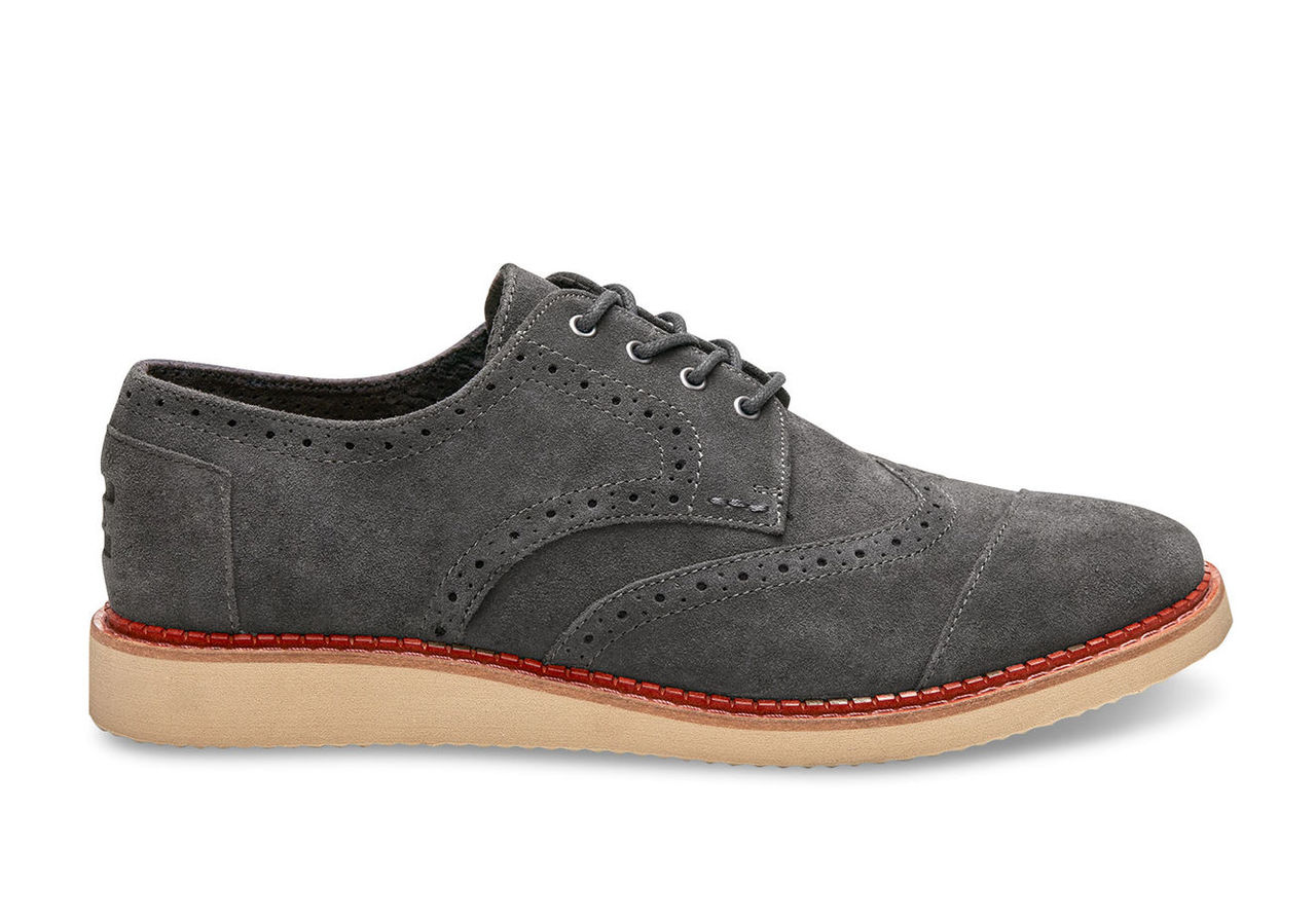 Forged Iron Grey Suede Men's Brogues