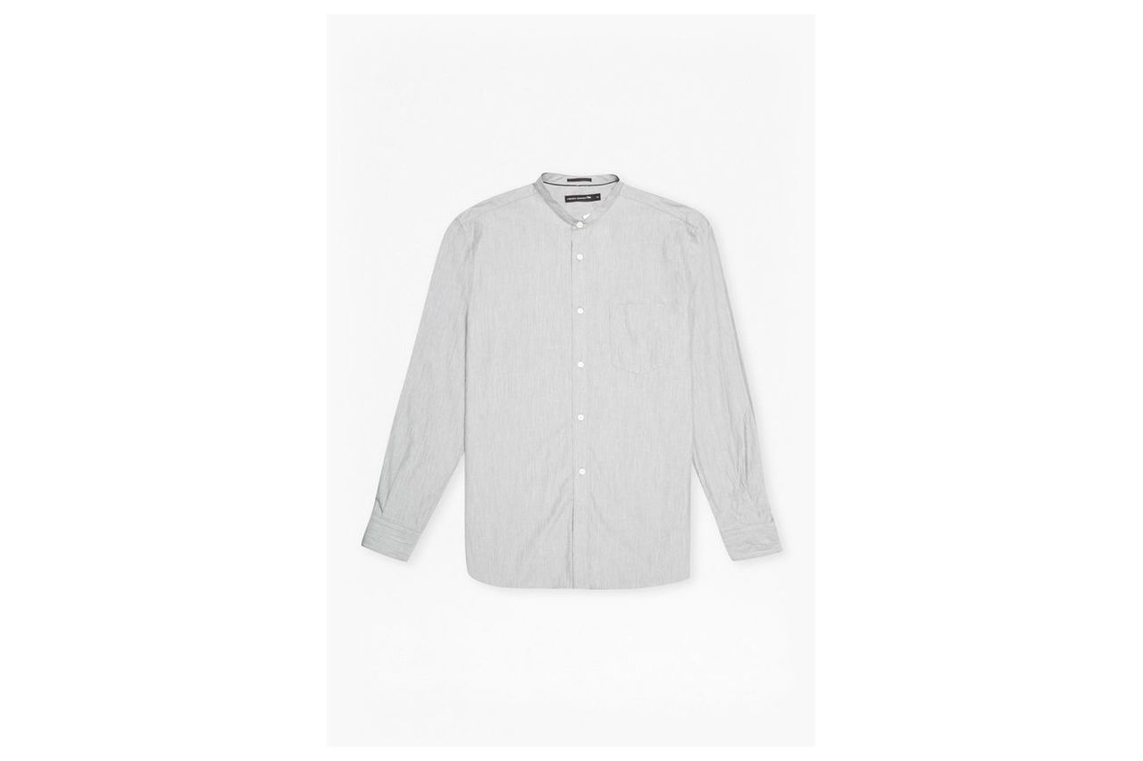 Jeans Zepher Melange Grandad Collared Shirt - grey melange