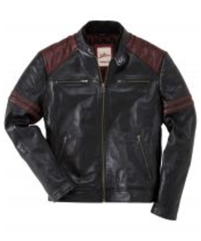 Leather Burnout Biker Jacket