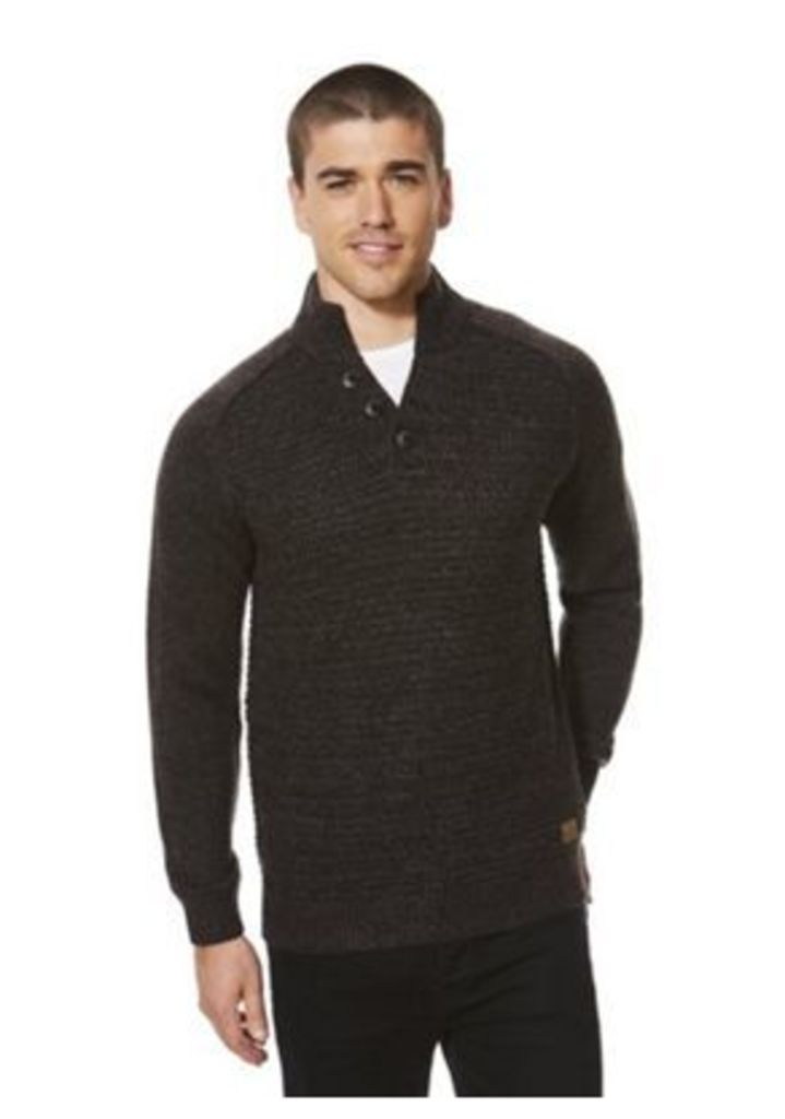 F&F Funnel Neck Textured Front Jumper, Men's, Size: Large