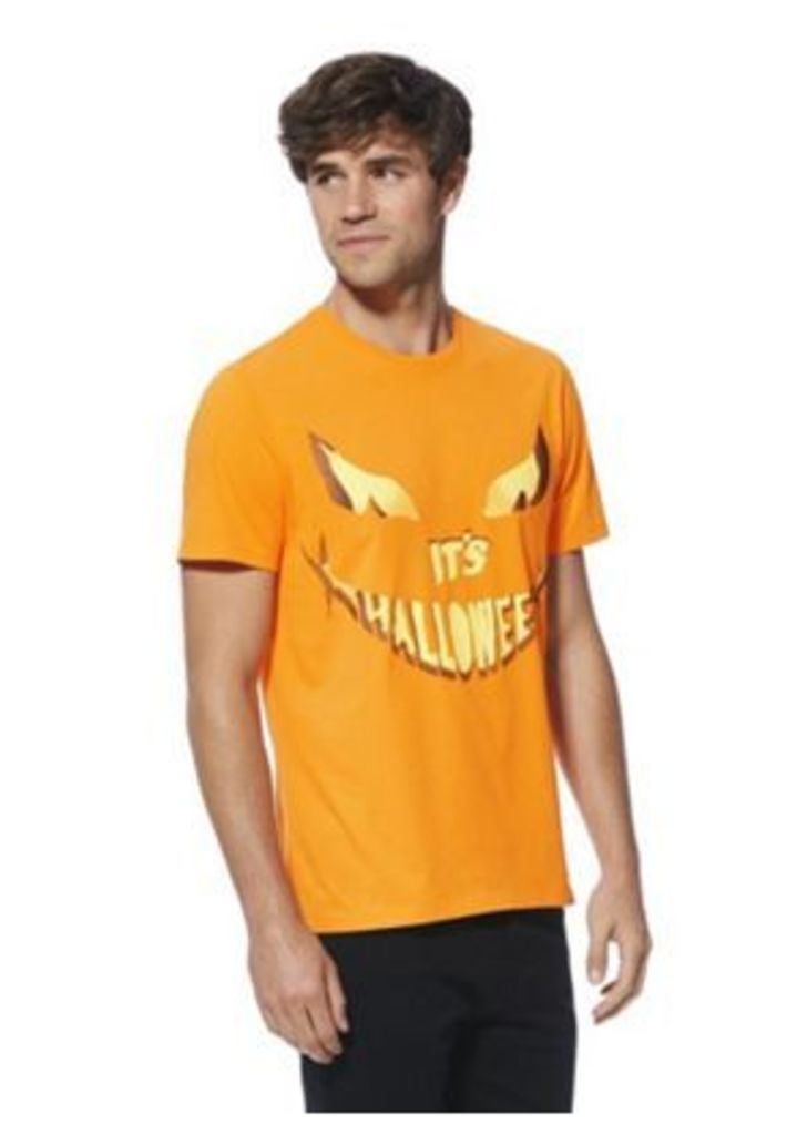 F&F Pumpkin Face Slogan Halloween T-Shirt, Men's, Size: 3XL