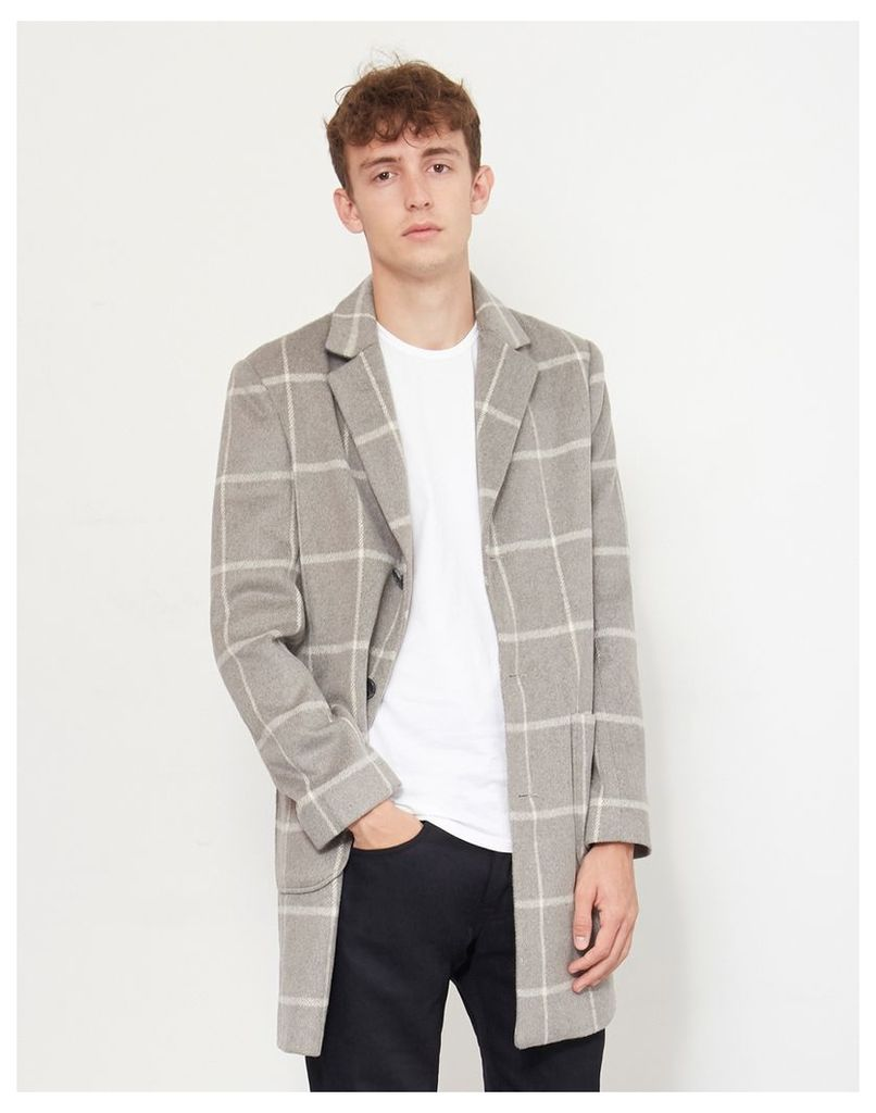 The Idle Man Check Overcoat Grey