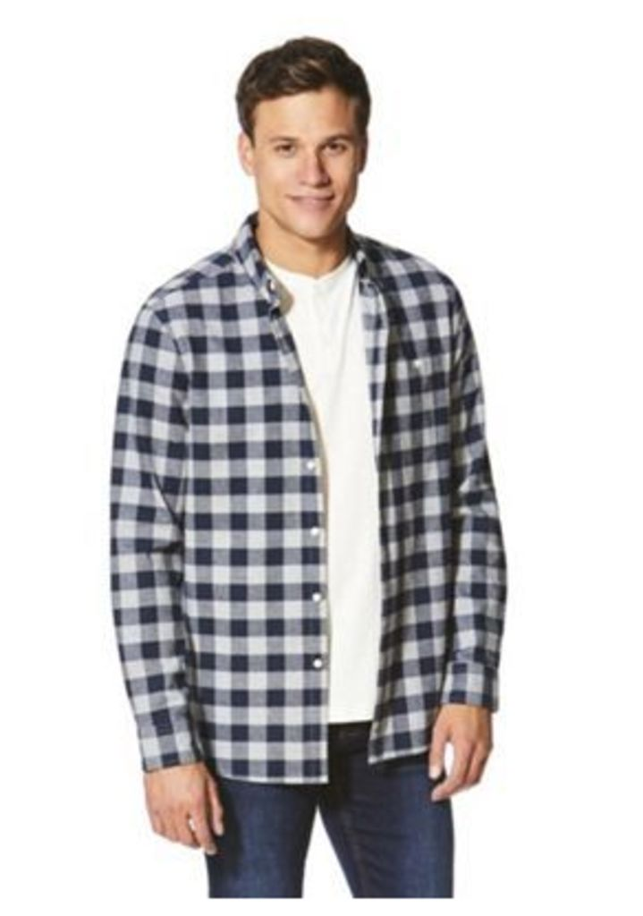 F&F Checked Shirt and Grandad T-Shirt Set, Men's, Size: 2XL