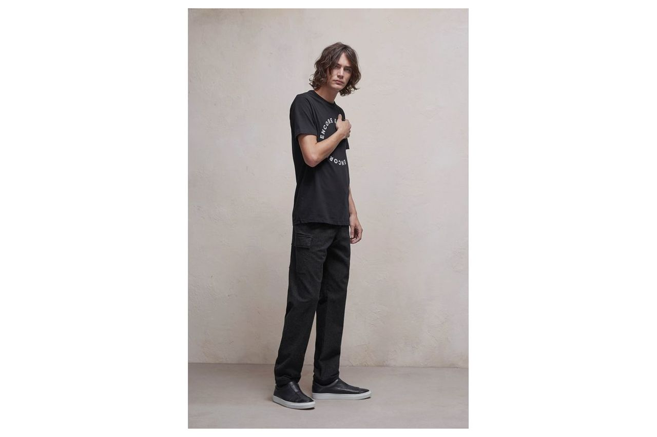 Brushed Cotton Twill Stretch Trousers - charcoal melange