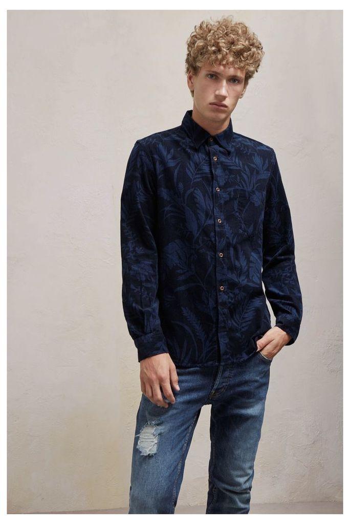 Overdyed Fumio Floral Corduroy Shirt - black olive/marine blue
