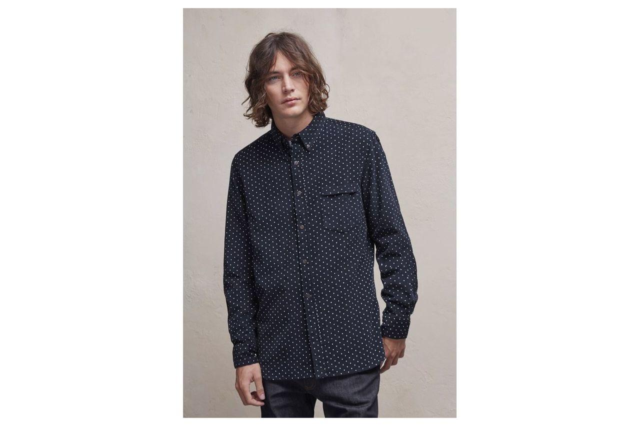 Chain-Lock Corduroy Polka Dot Shirt - marine blue