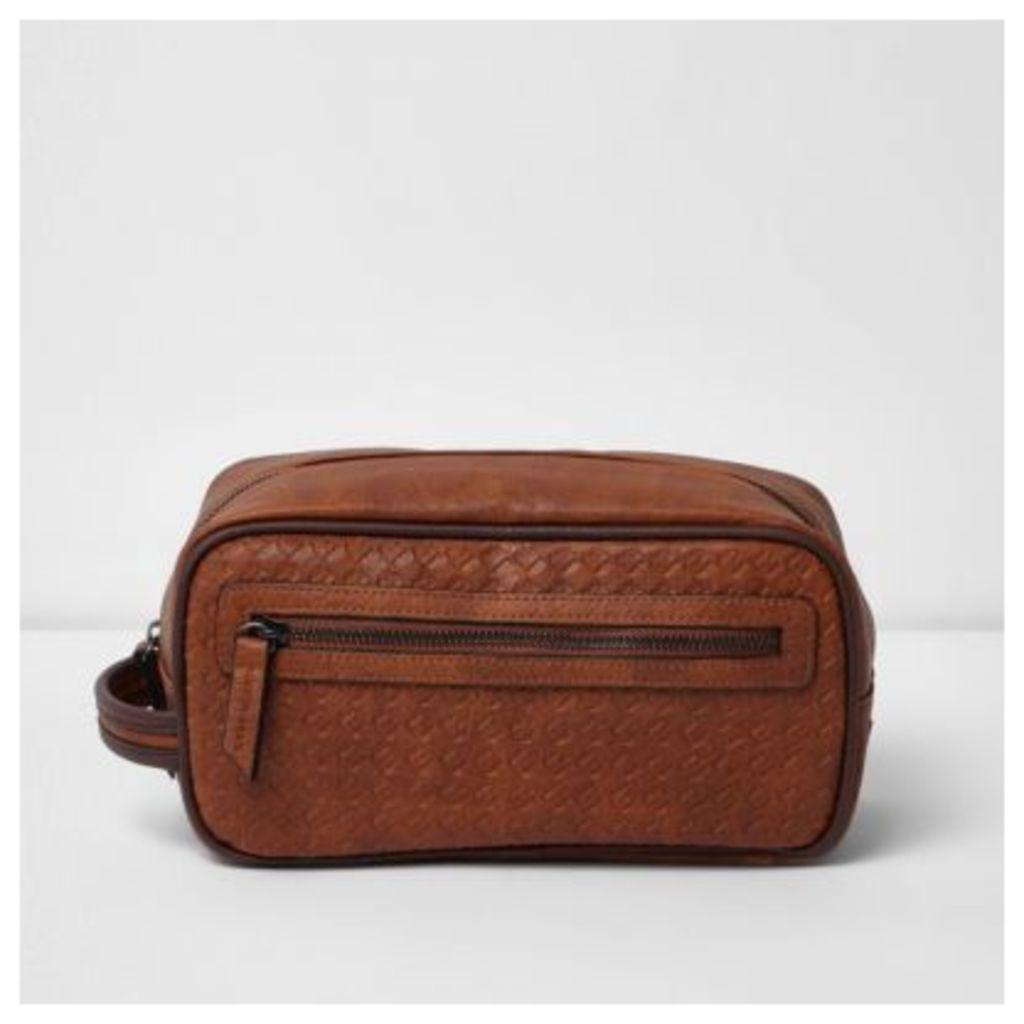 River Island Mens Tan brown textured zip front wash bag