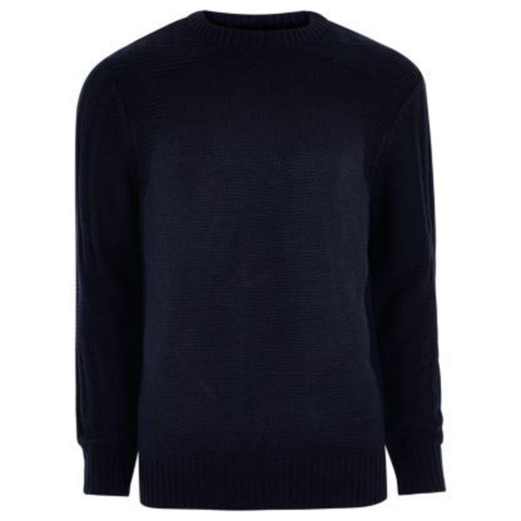 River Island Mens Navy blue textured crew neck knit jumper