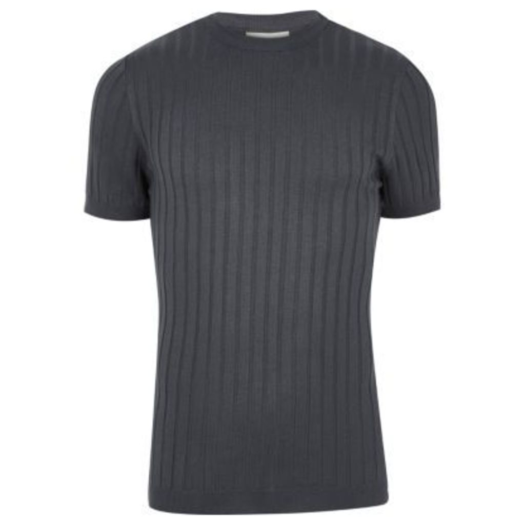 River Island Mens Dark Blue chunky ribbed muscle fit T-shirt