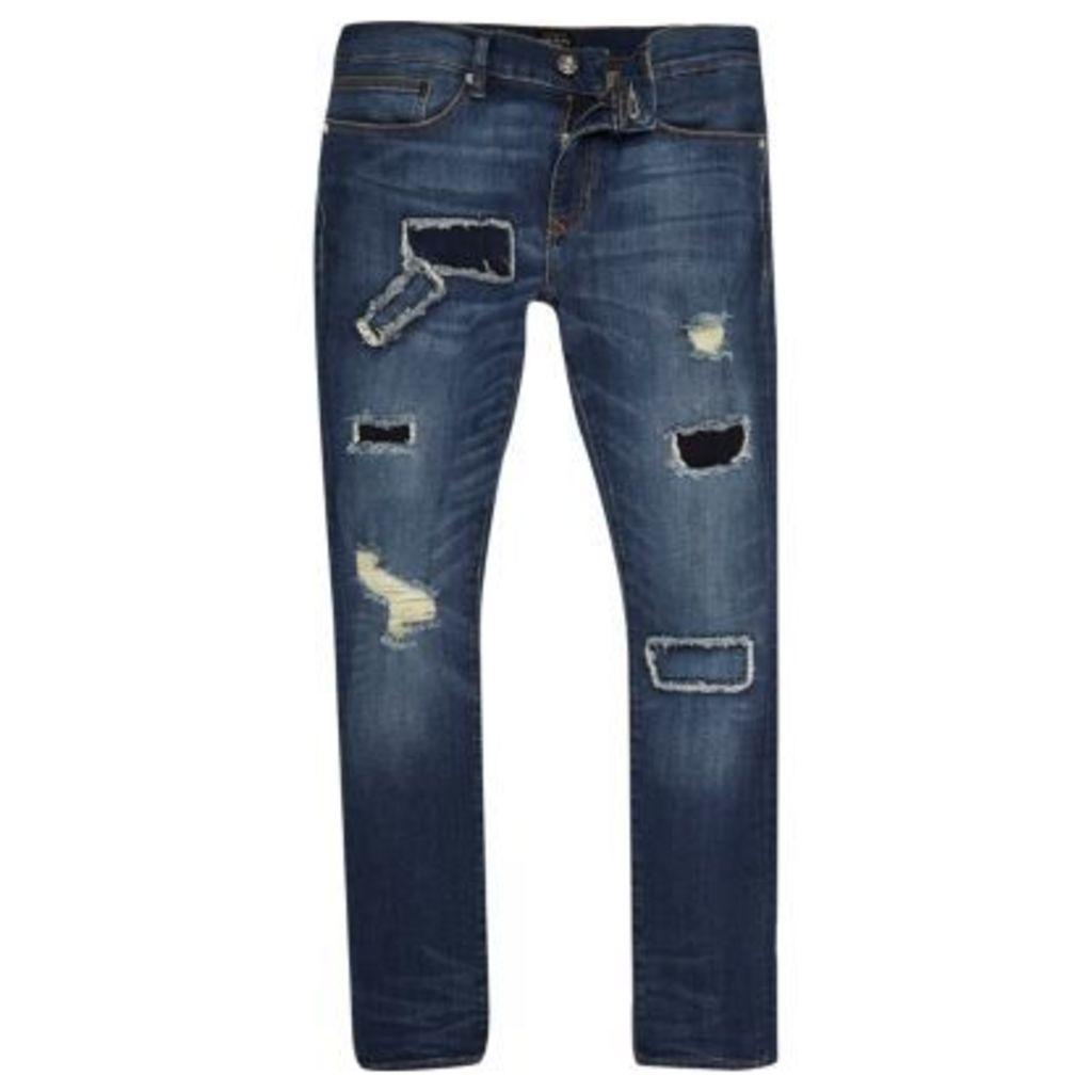 River Island Mens Dark Blue wash Danny super skinny jeans