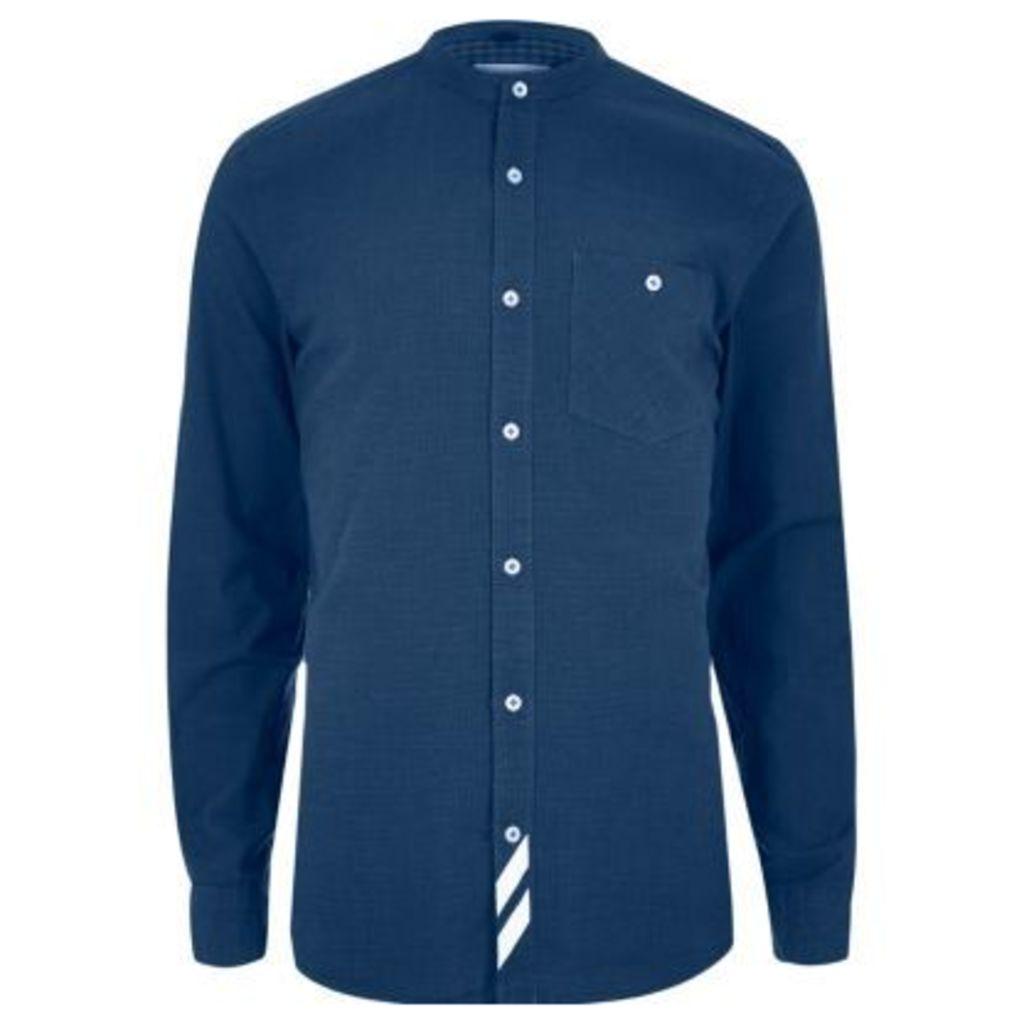 River Island Mens Blue stripe grandad casual shirt