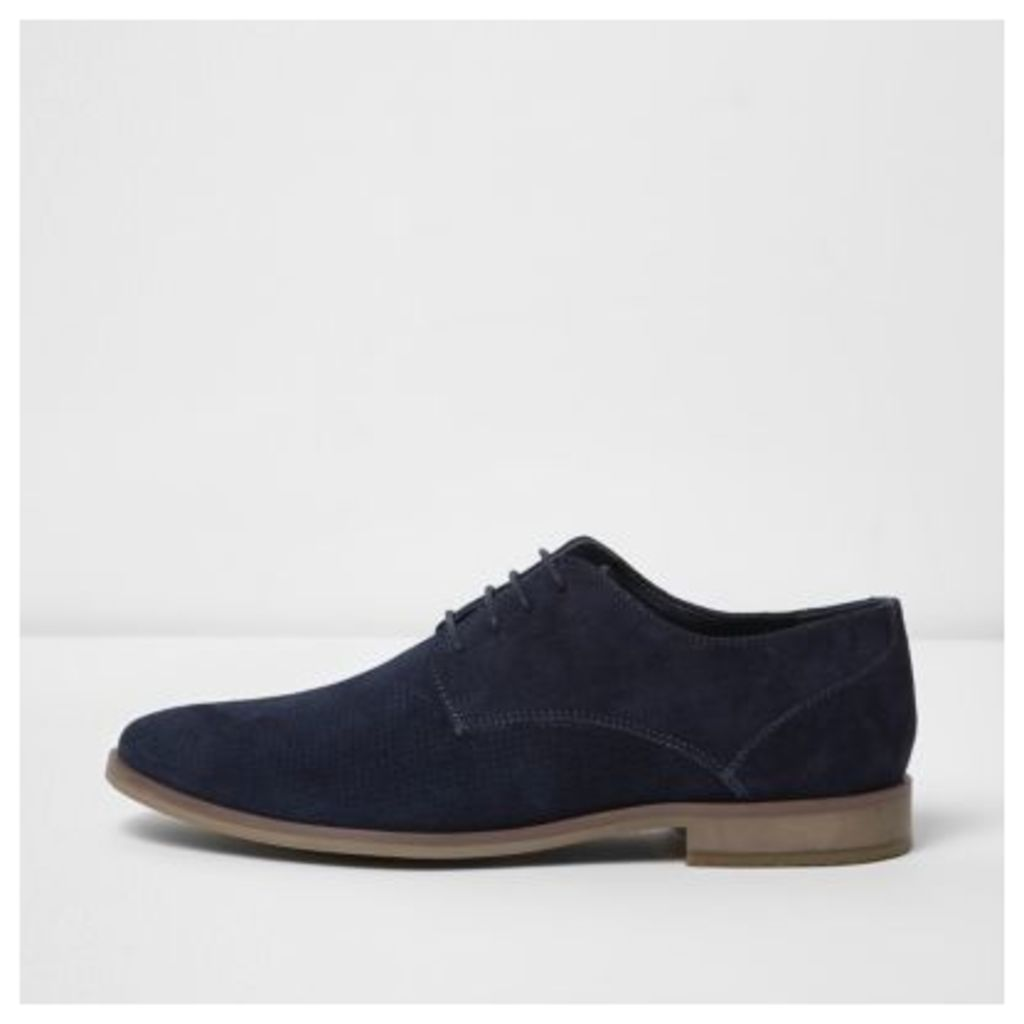 River Island Mens Navy suede perforated derby shoes