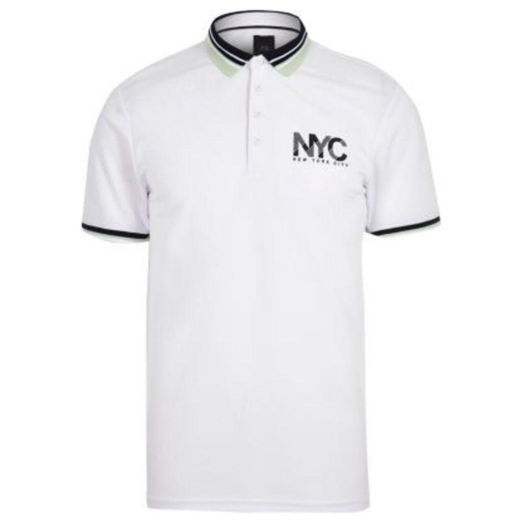 River Island Mens White 'NYC' print slim fit polo shirt
