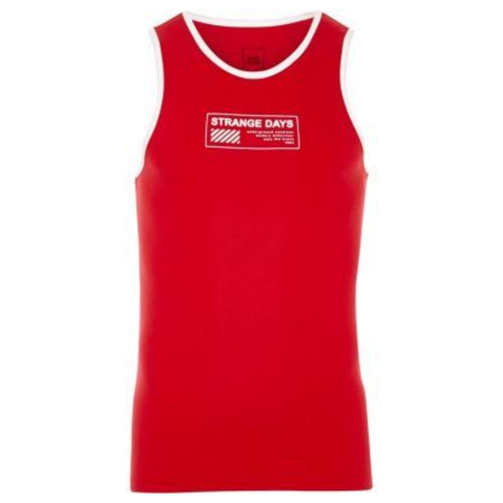 River Island Mens Red 'strange days' print ringer vest