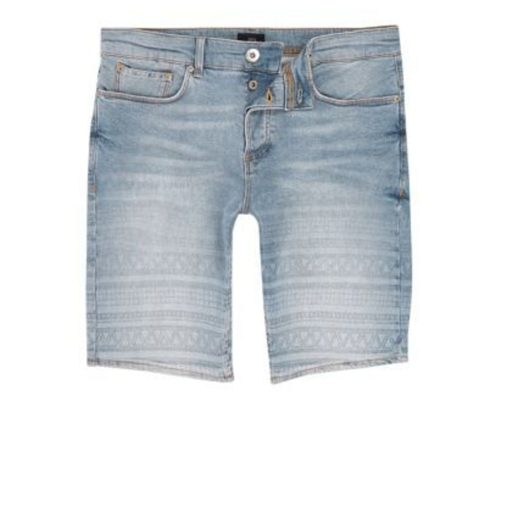 River Island Mens Light Blue aztec fade skinny denim shorts