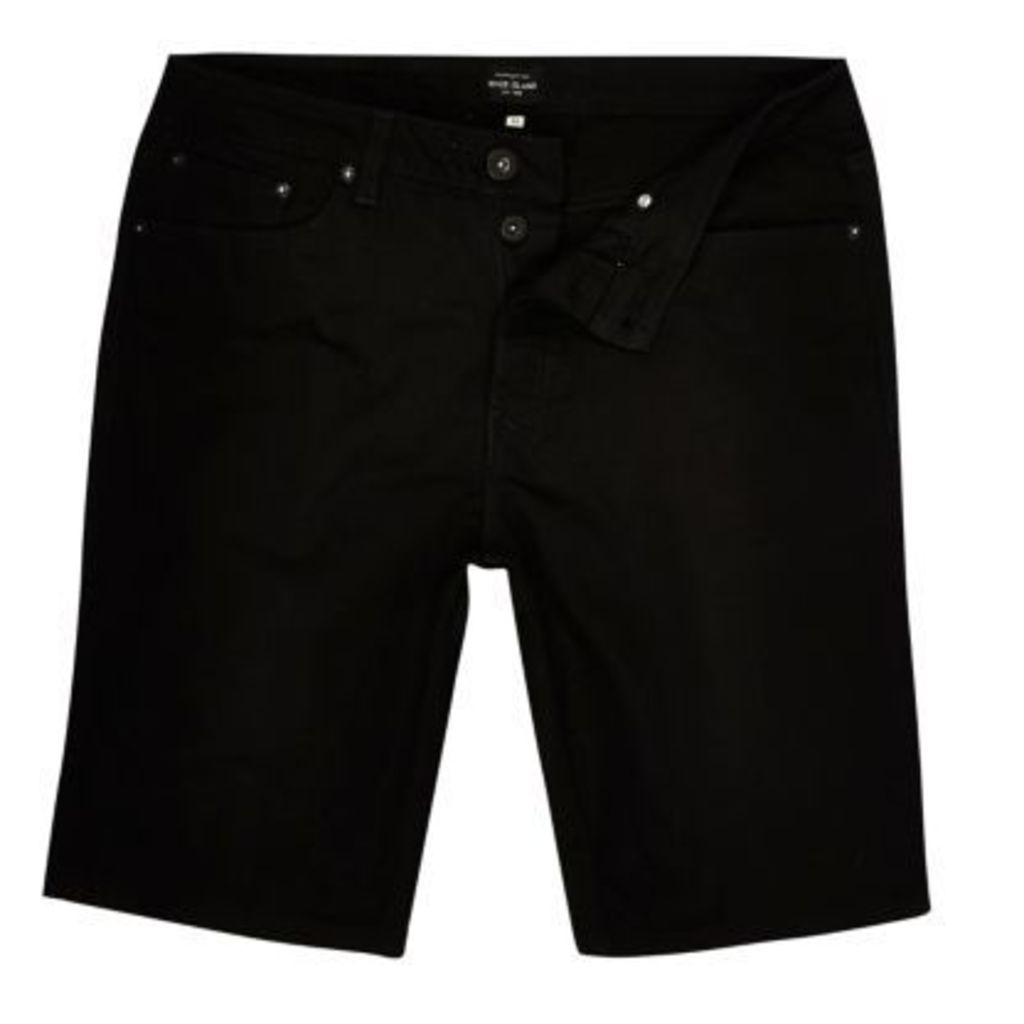 River Island Mens Black slim fit denim shorts
