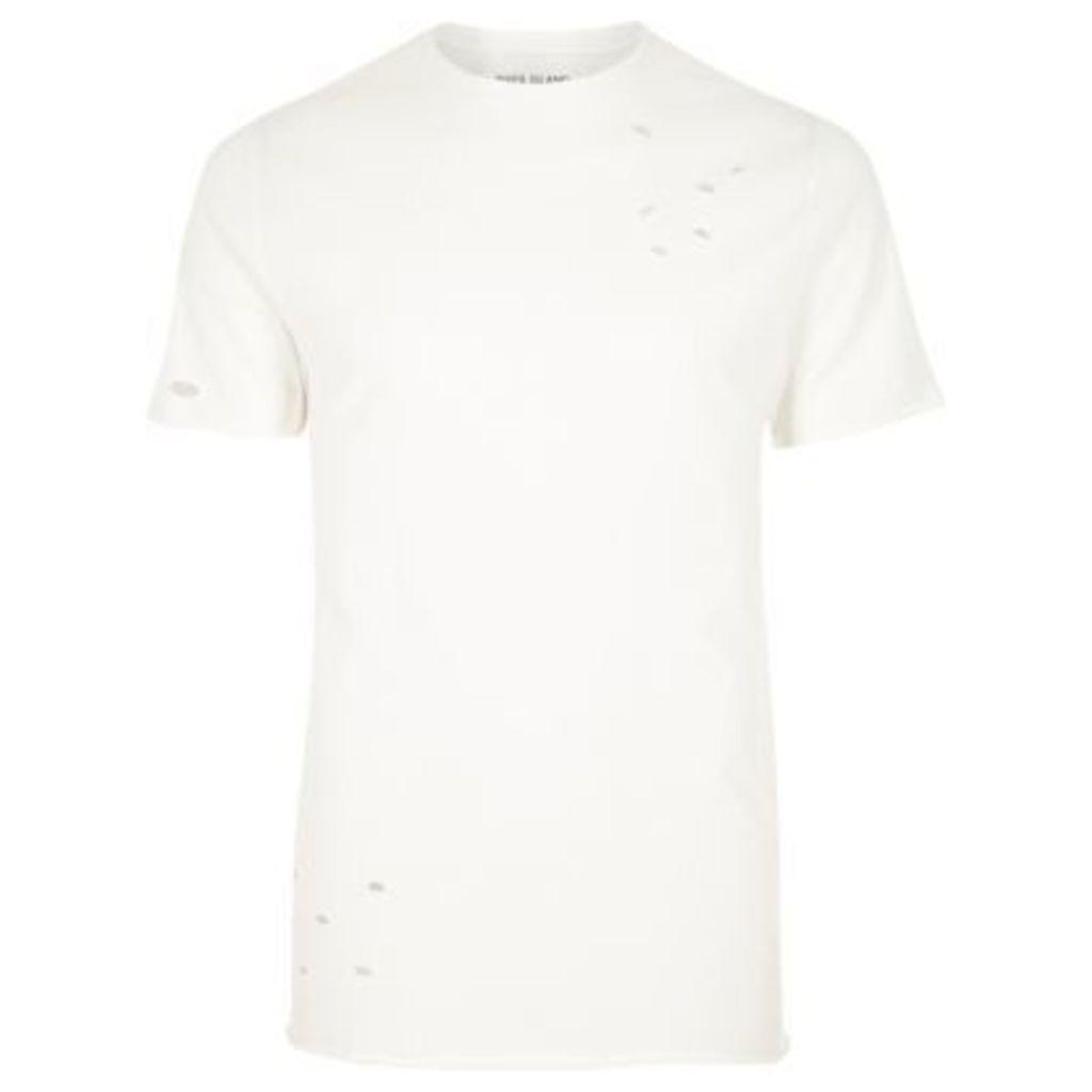 River Island Mens Cream distressed slim fit T-shirt