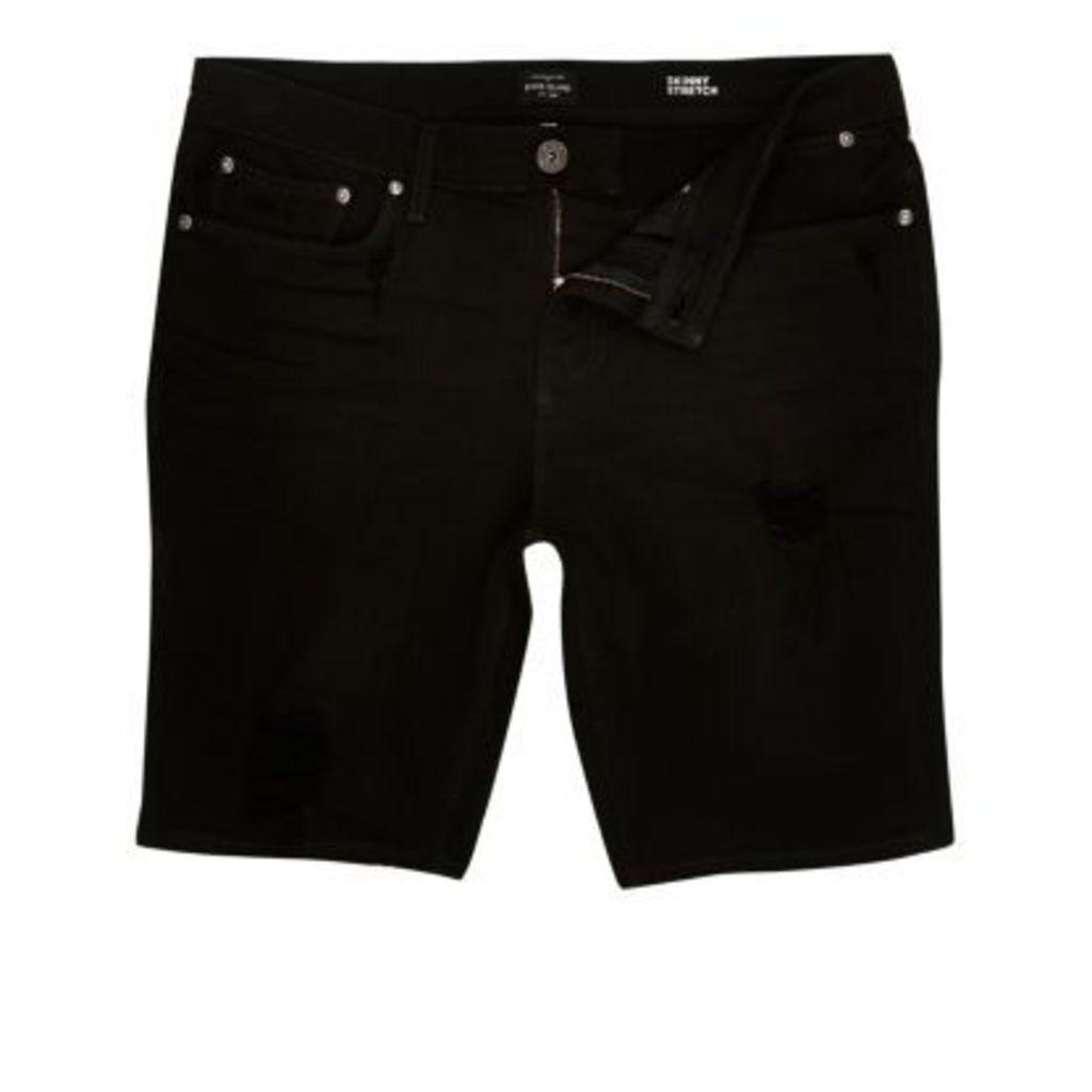 River Island Mens Black distressed skinny denim shorts