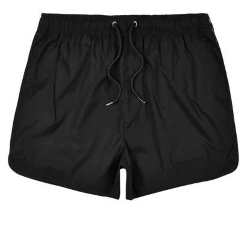 River Island Mens Black plain swim shorts