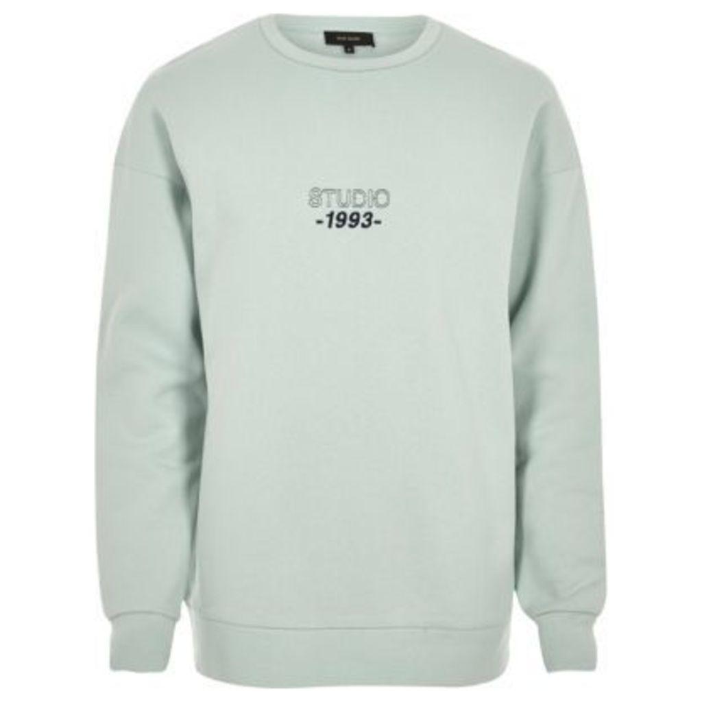 River Island Mens Minty Green print sweatshirt