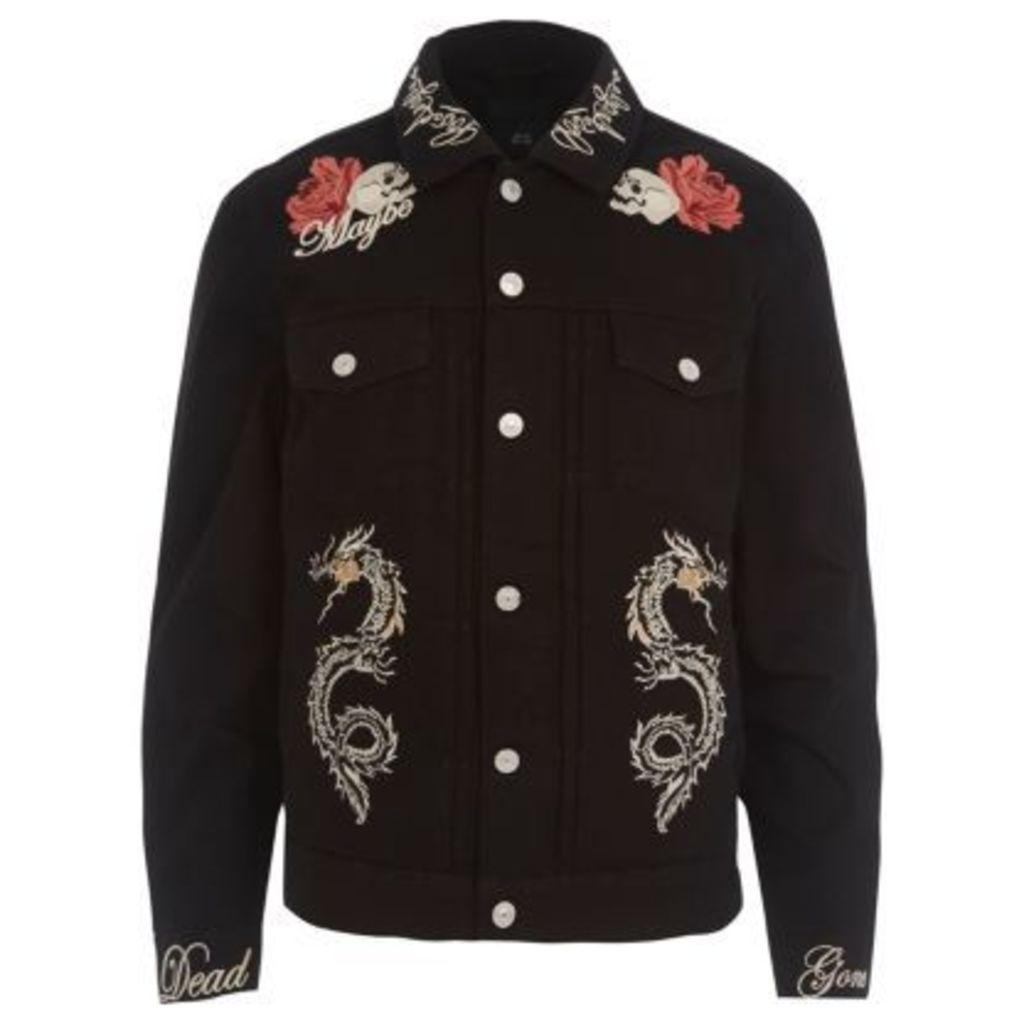 River Island Mens Black skull embroidered denim jacket